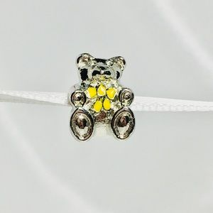 Jewelry - Cute Bear with Yellow Bow Charm   Fits Pandora